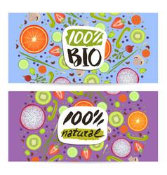 Bio food horizontal flyers set vector