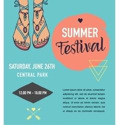 Bohemian summer event poster boho style vector