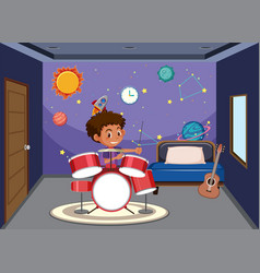 boy playing drum in bedroom vector image