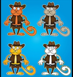 cartoon cowboy cat with gun vector image
