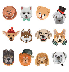 Cartoon dogs and hipster puppy face muzzles vector