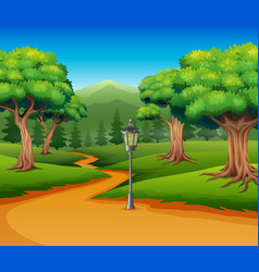 Cartoon of forest background with dirt road vector