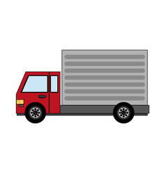 Color image cartoon realistic transport truck with vector
