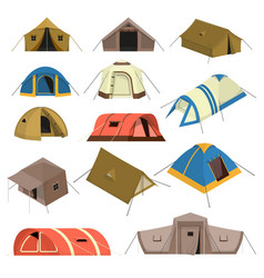 colorful tourist tents set vector image