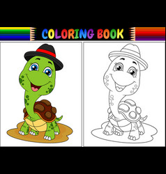 coloring book with cute turtle wearing cap vector image