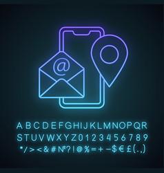 Contact information neon light icon vector