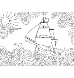 Contour image ship on wave in entangle vector