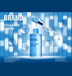 Cosmetic ads template blue repair essence bottle vector