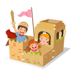Creative kids playing castle made of cardboard box vector