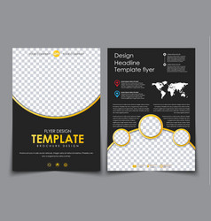 design 2 pages of a4 black with yellow elements vector image