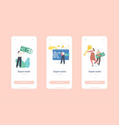 digital wallet mobile app page onboard screen vector image