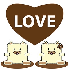 Dog in love vector