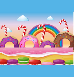 Donuts and macaroons on the beach vector