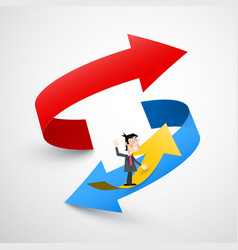 double arrow with business man red up and blue vector image