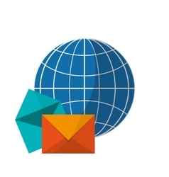earth globe diagram and message envelope icon vector image