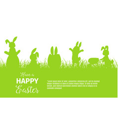 easter holiday bunnies or rabbits hunting for eggs vector image