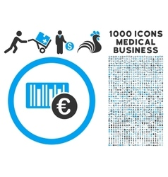 Euro Barcode Icon with 1000 Medical Business vector image