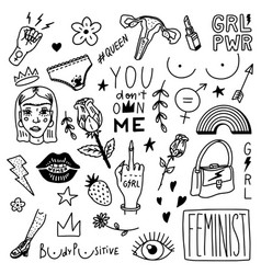 Feminist set in vintage style girl power and body vector
