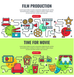 film production and time for movie banners vector image