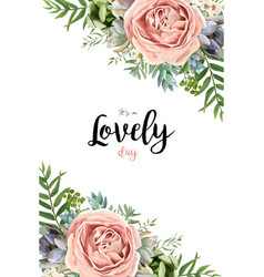 Floral design card white rose flower pink vector