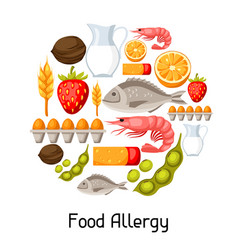 food allergy background with allergens and symbols vector image