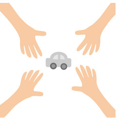 Four hands arms reaching to cartoon auto car vector