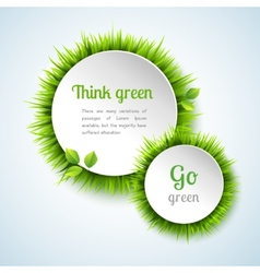 Grass double circle frame set vector image