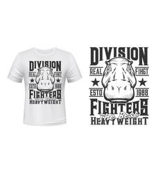 hippopotamus weight fighters club t-shirt print vector image