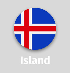 Iceland flag round icon with shadow vector