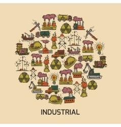 Industrial sketch set vector image
