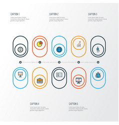 Job colorful outline icons set collection of pie vector
