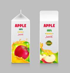 Juice carton box pack 3d with whole and cut apple vector