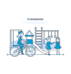 kids on playground in park outside home vector image