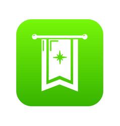 Knight flag icon green vector