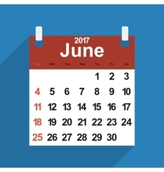 Leaf calendar 2017 with the month of June days vector