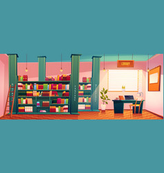 library with books on shelves and desk for study vector image