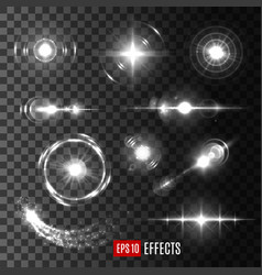 light flashes and star sparkles icons vector image