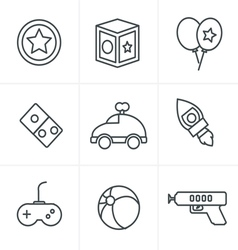Line Icons Style toy icons mono symbols vector image