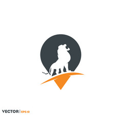 lion location point logo vector image