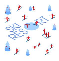 Lot of people skiing around words ski resort vector