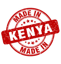 Made in kenya red grunge round stamp vector