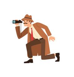 Male detective sneaking looking through binoculars vector