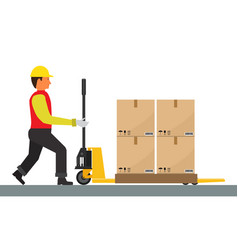 Man is driving pallet jack with cargo flat vector