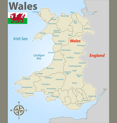 Map wales with districts vector