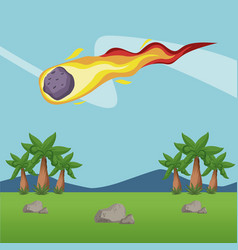 Meteor falling in forest vector