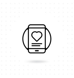 mobile phone icon with heart sign vector image