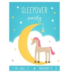 Moon and Unicorn Sleepover Kids Party Card vector image