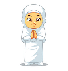 Moslem girl hajj greeting vector