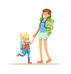 Mother and her son with tourists backpacks vector