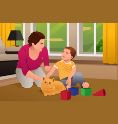 Mother and son playing with a cat at home vector